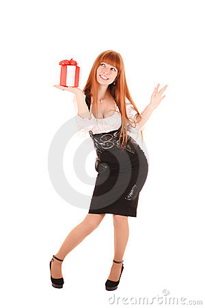 Smiling business woman with gift box