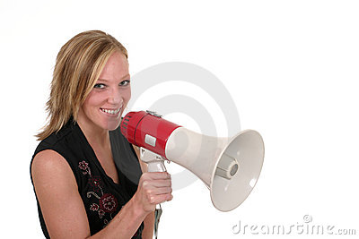 Smiling Business Woman With Megaphone 2