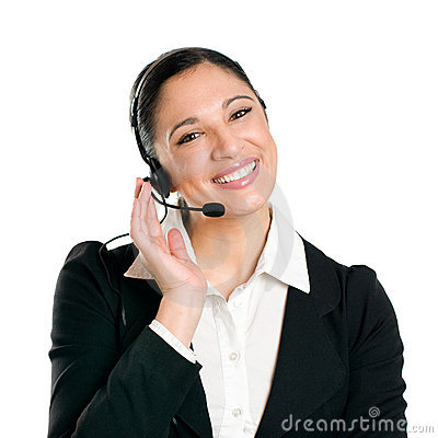 Smiling business woman operator with headset