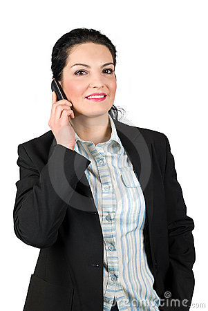 Smiling business woman talk on cell phone