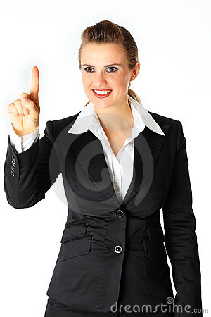 Smiling business woman touching abstract screen
