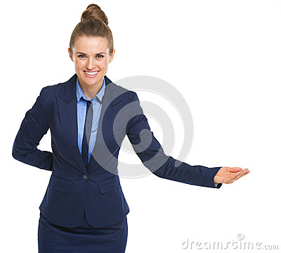 Smiling business woman welcoming
