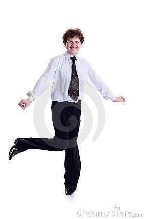 Smiling businessman dancing