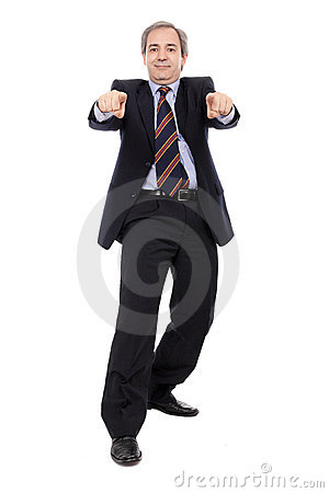 Smiling Businessman with hands pointing