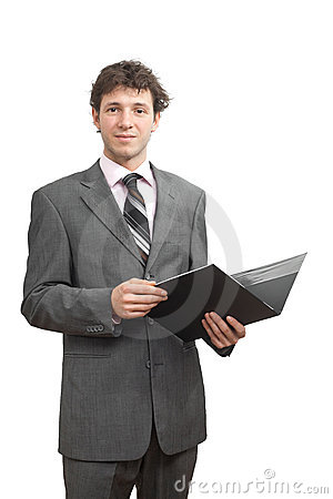 Smiling businessman holding document folder