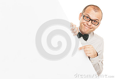 Smiling businessman with info board