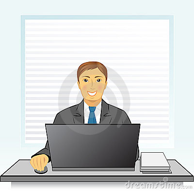 Smiling businessman with laptop in office