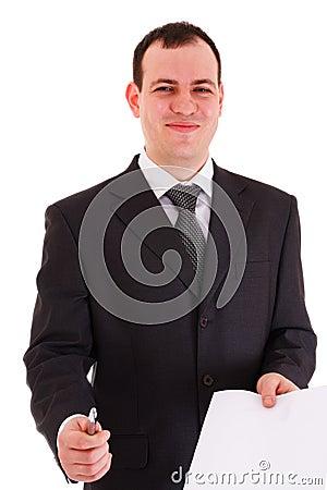Smiling businessman offer sign paper