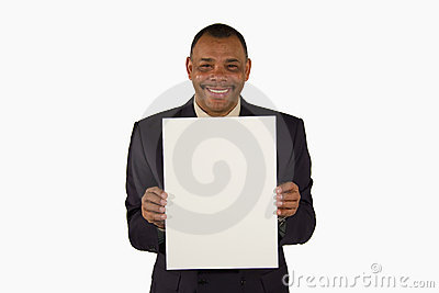 Smiling businessman presenting a picture board