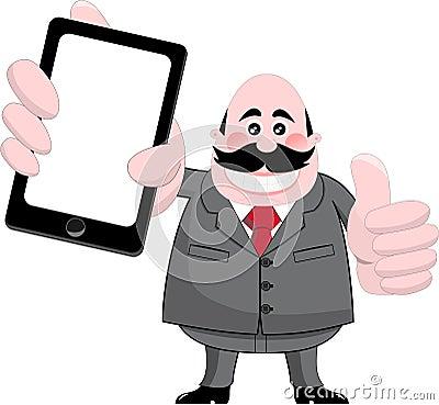Smiling Businessman Showing Tablet or Smartphone