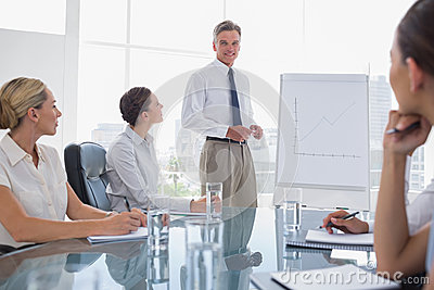 Smiling businessman standing in front of a whiteboard