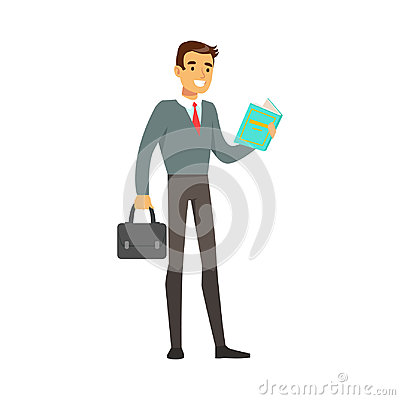 Smiling businessman standing and reading a book vector Illustration Vector Illustration