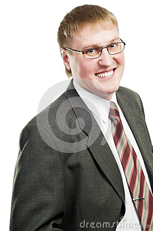 Smiling businessman in suit and glasses