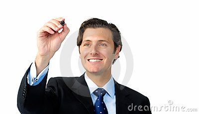Smiling businessman writes with a marker in midair