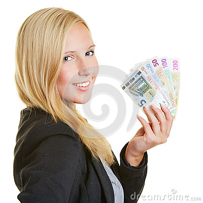 Smiling businesswoman with Euro money fan