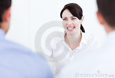 Smiling businesswoman having a job interview