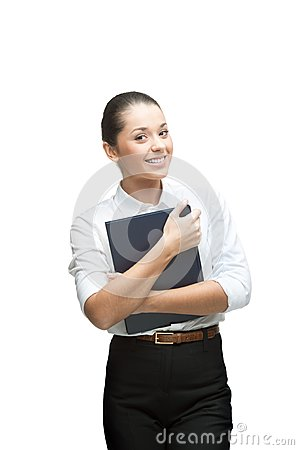 Smiling businesswoman holding diary