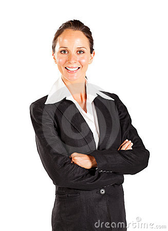 Smiling businesswoman isolated