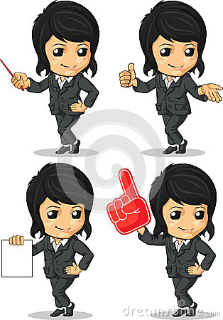 Smiling Businesswoman Mascot in Many Poses