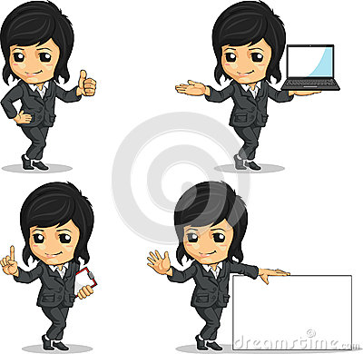 Smiling Businesswoman Mascot in Various Poses