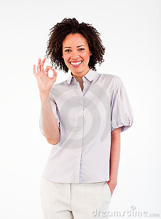Smiling  businesswoman showing okay sign