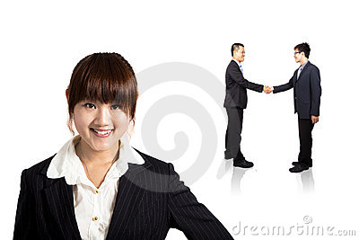 Smiling businesswoman and Successful transaction