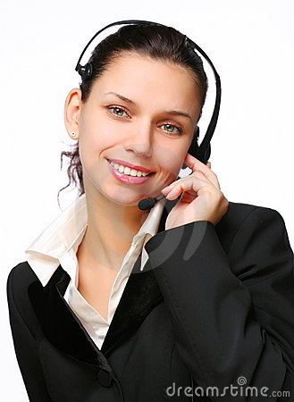 Smiling call-center operator.