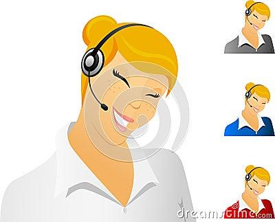 Smiling call center representative