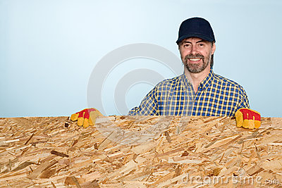 Smiling carpenter holds plywood