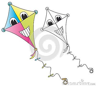 Smiling cartoon kite Stock Photo