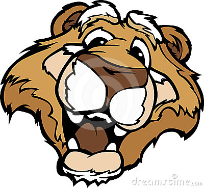 Smiling Cartoon Mountain Lion or Cougar Mascot