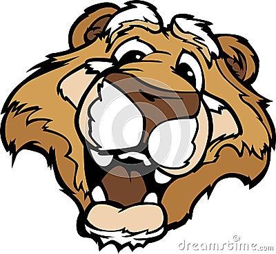 Smiling Cartoon Mountain Lion or Cougar Mascot