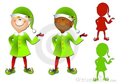 Smiling Cartoon Santa Elf Clip Art
