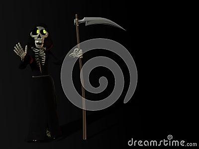 Smiling cartoon skeleton as the grim reaper.