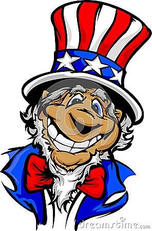Smiling Cartoon Uncle Sam Patriotic Hat