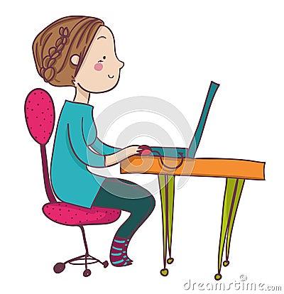 Smiling cartoon woman at laptop