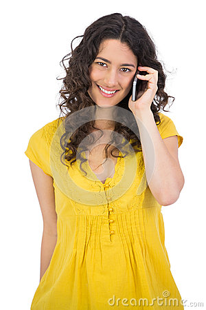 Smiling casual young woman on the phone