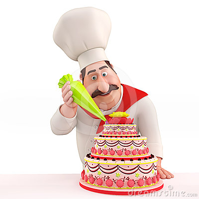 Royalty Free Stock Photography: Smiling Chef decorating ...