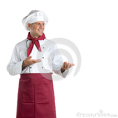 Smiling chef presenting