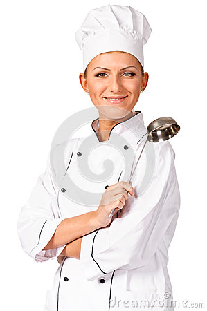 Free Smiling Chef With Ladle Royalty Free Stock Photo - 27488695