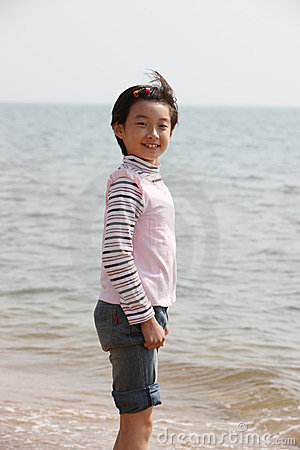 Smiling child on beach