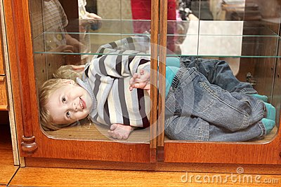 Smiling child in box