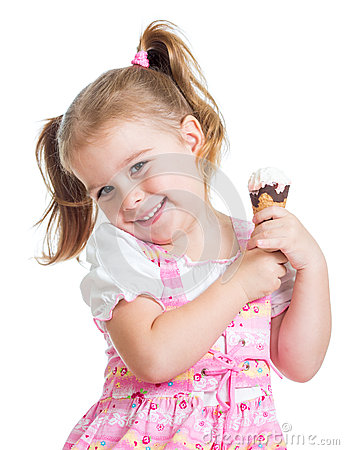 Smiling child girl eating ice cream isolated