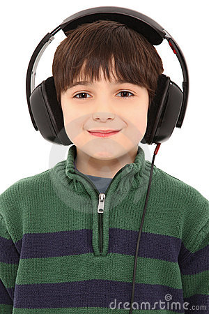 Smiling Child Headphones with Clipping Path