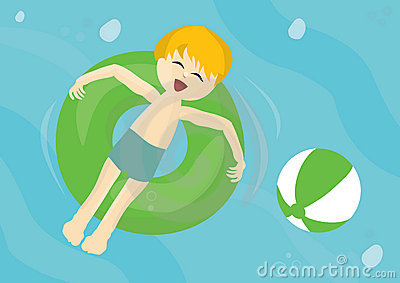 Smiling child on a inflatable pool tube