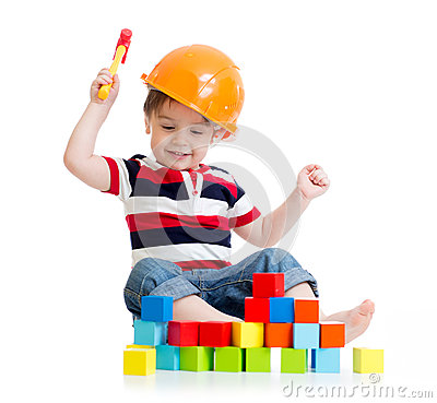 Free Smiling Child With Hard Hat And Toy Hammer Royalty Free Stock Photography - 53088217