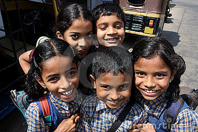 The smiling children went from indian school Editorial Stock Photo