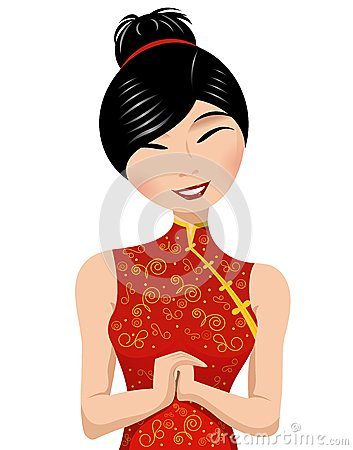 Free Smiling Chinese Woman In Traditional Red Clothing Royalty Free Stock Image - 28295996