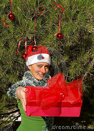 Smiling christmas woman giving a gift