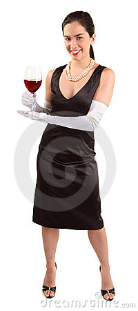 Smiling Classy Woman Holding a Glass of Red Wine